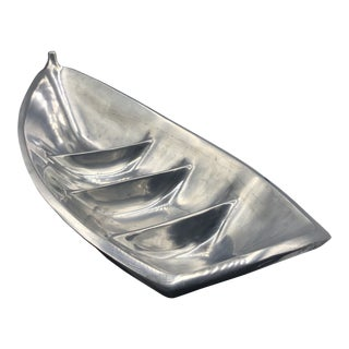 Large Alloy Boat Serving Dish With Shell For Sale