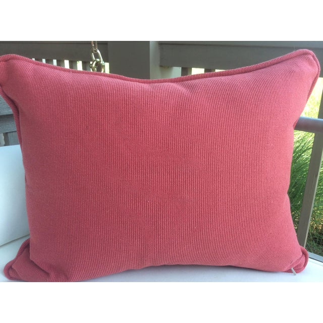 """Boho Chic Clarence House """"Tibet Dragon"""" Navy Linen & Down Pillow For Sale - Image 3 of 3"""