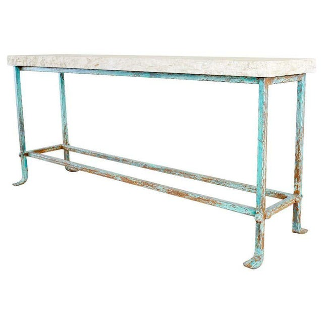 Patinated Iron and Stone Garden Console Table For Sale - Image 13 of 13