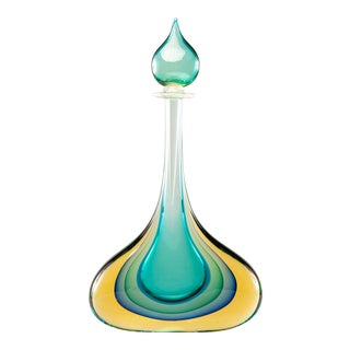 Sommerso Murano Glass Teal and Amber Perfume Bottle With Stopper For Sale