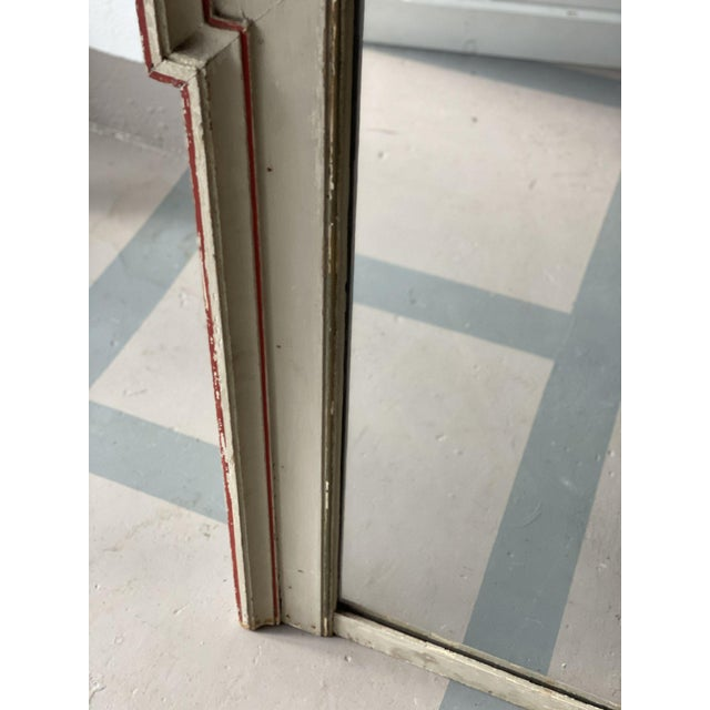 Mid 19th Century Mid 19th Century French Painted Mirror With Red Trim For Sale - Image 5 of 6