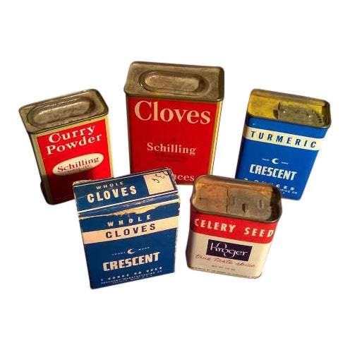 1950s Kitchen Spice Tins - Set of 5 - Image 1 of 4