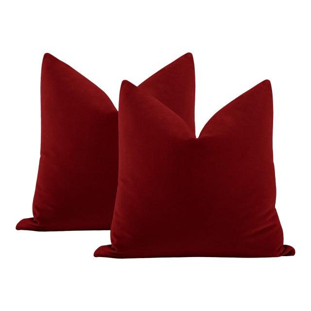 """22"""" Crimson Italian Velvet Pillows - a Pair For Sale"""