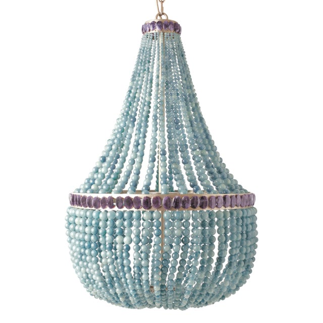 Contemporary Blue Quartz Empire Chandelier For Sale - Image 3 of 3