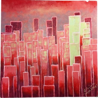 "Suga Lane ""The Red City"" Pink Cityscape Acrylic Painting"