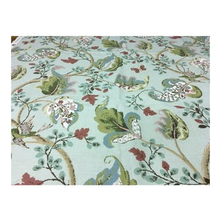 j.h. Thorp Fox Hollow Aqua Floral Print Multi-Purpose Fabric From the Schumacher Archive Collection For Sale