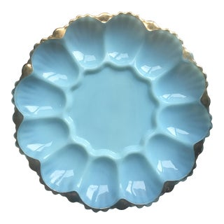 Vintage Robins Egg Blue & 22-Karat Gold Milk Glass Deviled Egg Tray