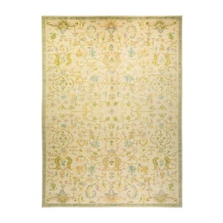 """Oushak, One-Of-A-Kind Hand-Knotted Area Rug - Ivory, 10' 4"""" X 13' 10"""" For Sale"""