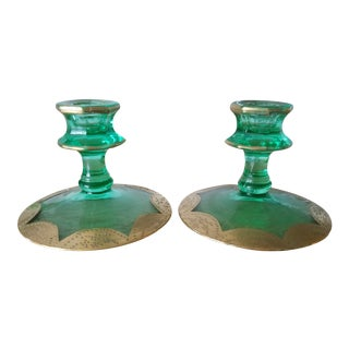 All 3 Included. Trio Green and Gold Gilt Art Deco Glass Candlesticks - a Trio For Sale