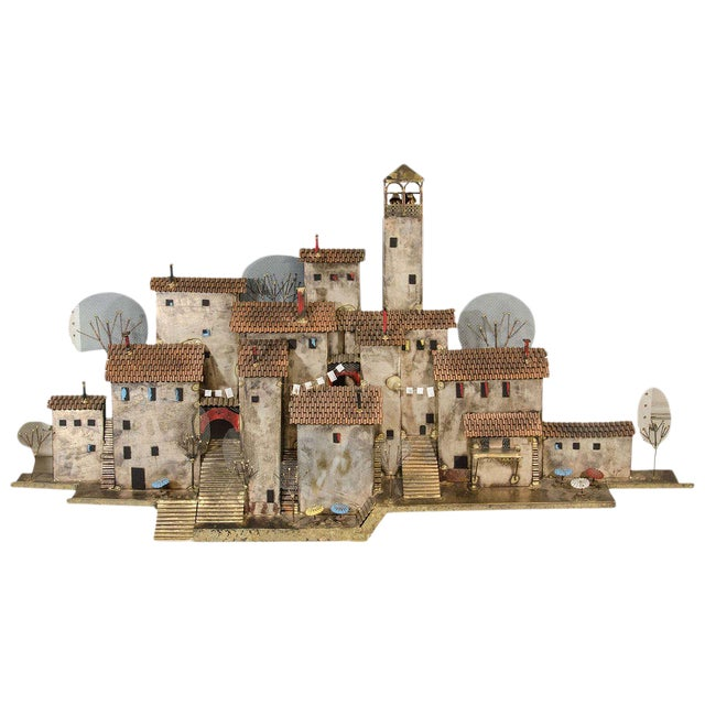 AMAZING COLORFUL WALL- MOUNTED MEDITERRANEAN VILLAGE SCULPTURE BY CURTIS JERE For Sale