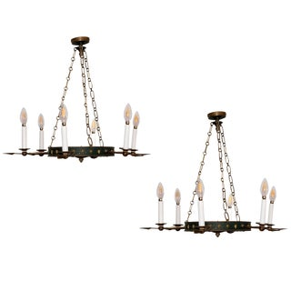 Pair of Tole and Bronze Painted Chandeliers, Will Sell Separately For Sale