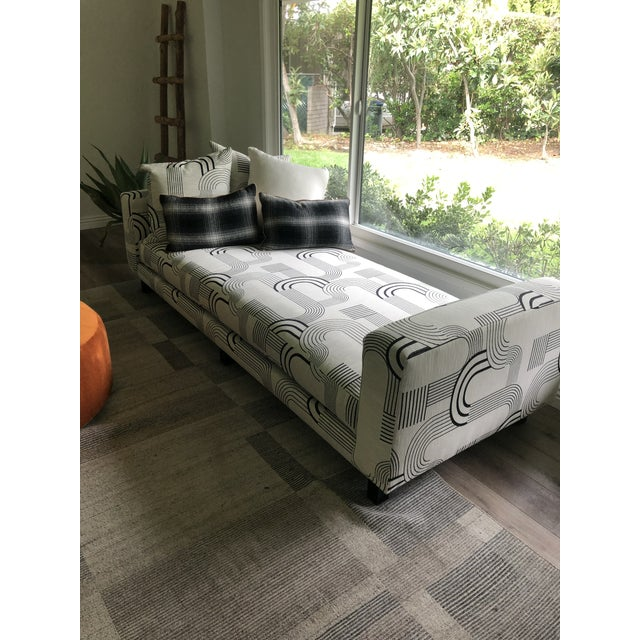 Textile Black & White Art Deco Style Daybed For Sale - Image 7 of 8