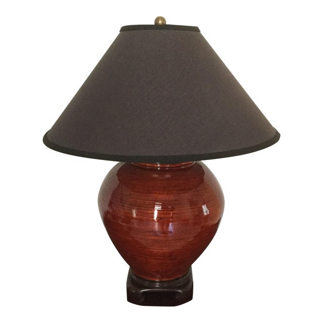 Gumps Red Bamboo Table Lamp - Image 1 of 5