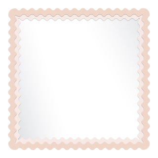 Fleur Home x Chairish Carnival Chaos Square Mirror in Pink Ground, 30x30 For Sale