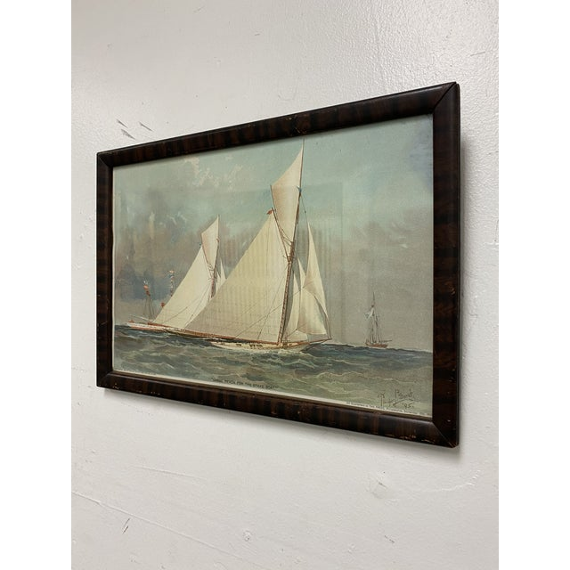 """Nautical 1995 """"Close Reach for the Stake Boat"""" Framed Art Print For Sale - Image 3 of 9"""