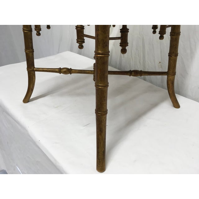 Napoleon III Antique Faux Bamboo Stool For Sale - Image 3 of 11