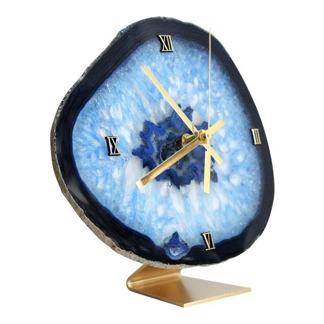 Modern Blue Agate Slice Boho Clock - Image 1 of 7