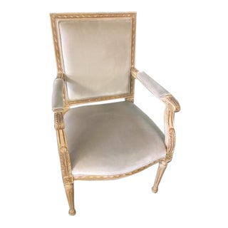 Early 21st Century Vintage Schumacher Louis XVI Gainsborough Velvet Armchair For Sale