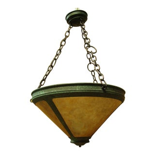 Vintage Arts and Crafts Mica Mesa Pendant Lamp For Sale