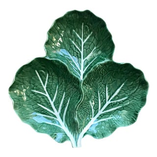 "Vintage 14""Cabbage Leaf Majolica Serving Dish-Bordallo Pinheiro For Sale"