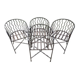 Vintage Heavy Iron Barrel Chairs - Set of 4 For Sale