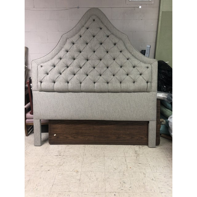 2010s Blue Gray Tufted Headboard For Sale - Image 5 of 6