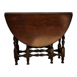 Vintage Gateleg Table With Drop Down Side Leaves For Sale