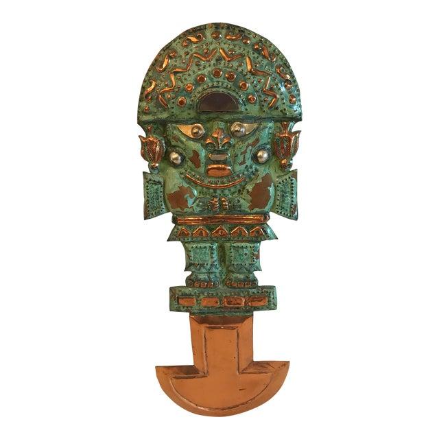 Vintage Copper Aztec God Wall Hanging For Sale