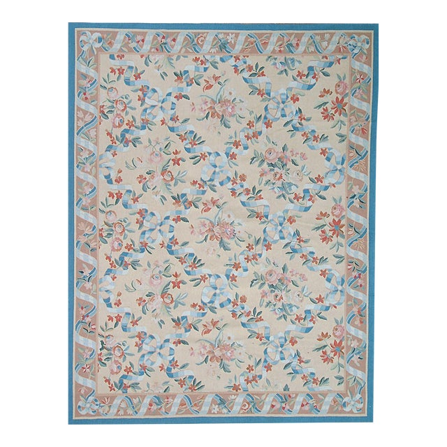"Pasargad Aubusson Hand Woven Wool Ru g- 9' 6"" X 12' 7"" For Sale"