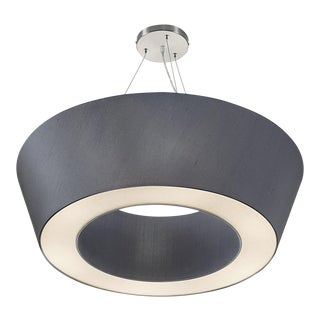 Art Deco Brushed Nickel With Polished Chrome Pendant Light