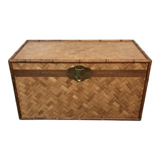 Vintage Woven Bamboo Trunk For Sale