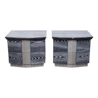 Pair of Cerused End Tables For Sale
