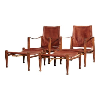Kaare Klint Safari Chairs and Footstools, Rud Rasmussen, Denmark, 1950s For Sale