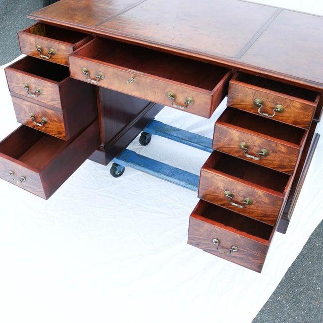 Beacon Hill Georgian Style Mahogany Pedestal Desk - Image 11 of 11
