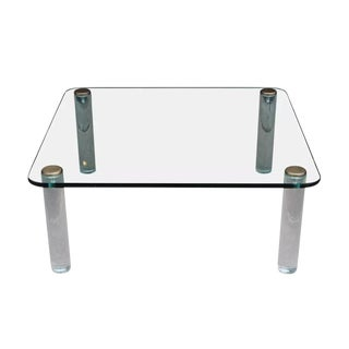 Mid-Century Square Glass, Lucite & Brass Coffee Table for Pace Collection