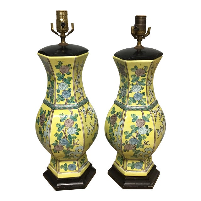 Vintage Pair Chinese Famille Juane Style Lamps For Sale