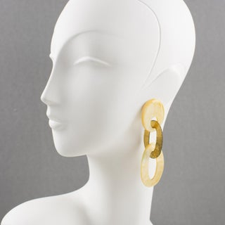 Gerda Lyngaard for Monies Dangling Clip Earrings Gilt Metal and Mother of Pearl Preview