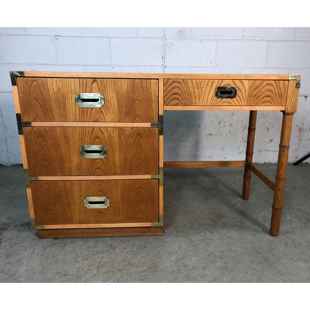 1970s Dixie Oak Wood Campaign & Bamboo Style Desk For Sale - Image 10 of 10