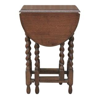 Vintage English Oak Barley Twist Drop Leaf End Table For Sale
