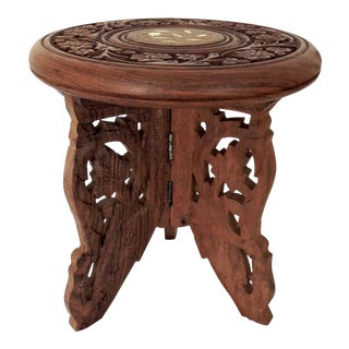 "Vintage Inlaid Indian Display Fruit Wood Stand / Pedestal 7.25"" For Sale"