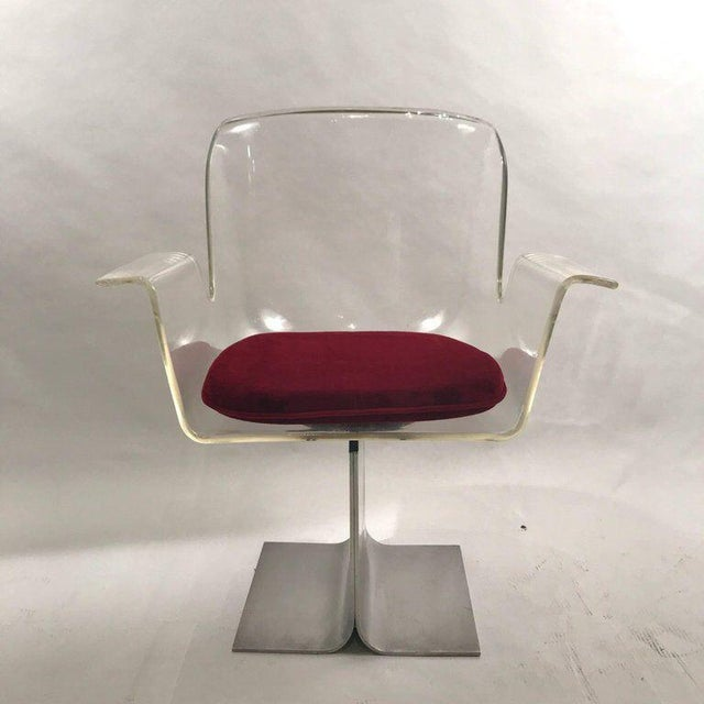 Pair of Pace Lucite & Aluminum Dining or Conference Swivel Chairs by i.m. Rosen For Sale - Image 10 of 13
