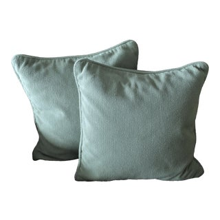 Mitchell Gold Sea Foam / Polar Blue Pillows - A Pair For Sale