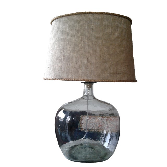 Clear Blown Glass Lamp W/ Burlap Shade For Sale In Kansas City - Image 6 of 6