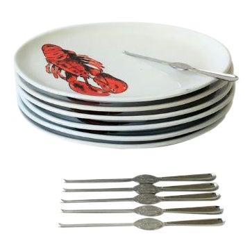 Vintage Designer Italian Lobster Plates With Forks From Sweden - Set of 6 For Sale