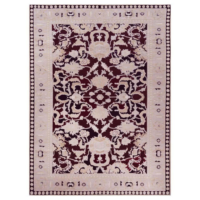 Maroon Handwoven Persian Agra Rug For Sale - Image 8 of 8