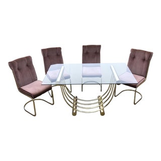 Blush Pink Geometric Dining Set - Set of 5 For Sale