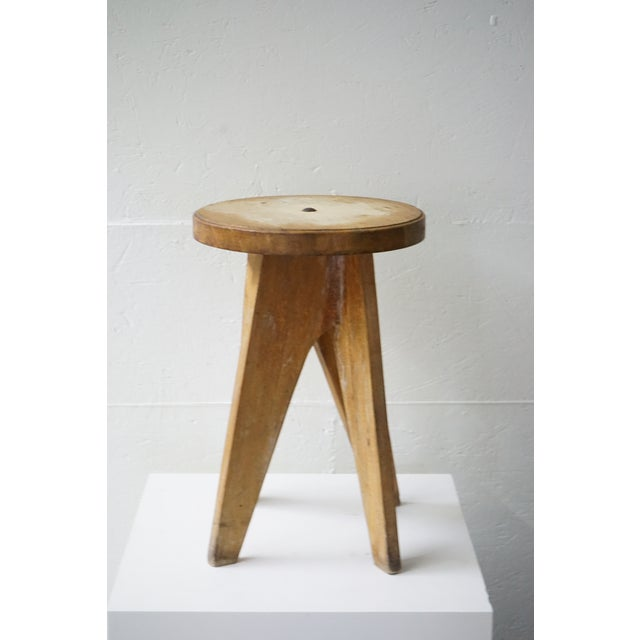 Mid-Century Modern Vintage Wooden Table/Stool For Sale - Image 3 of 7