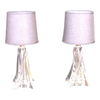 Mid-Century Bed Side Twisted Glass Cristal Lamp, France - a Pair For Sale