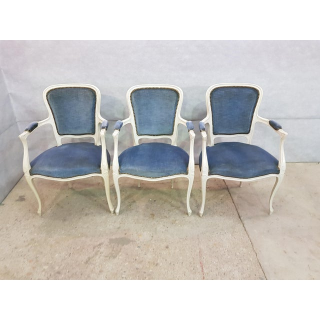 Set of 3 Large French Vintage Whitewashed Velvet Blue Upholstery Louis XV Armchairs For Sale - Image 4 of 13