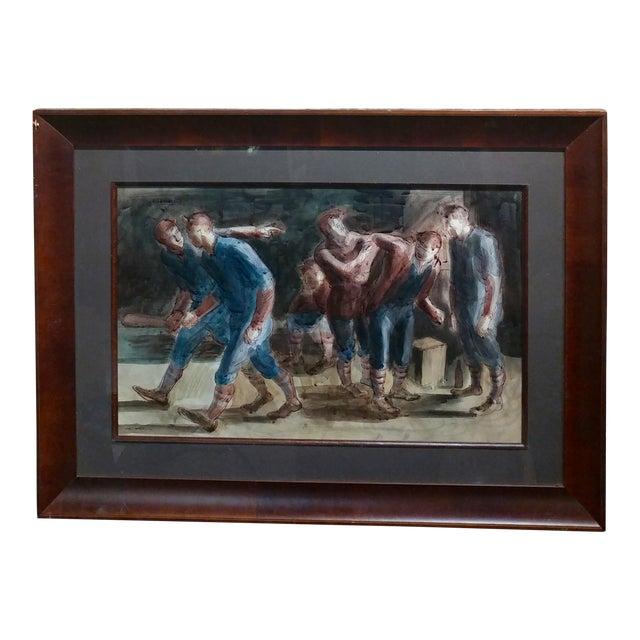 Carl Hugo Beetz- Taking the Baseball Field - Mix Media Painting- c1939 For Sale